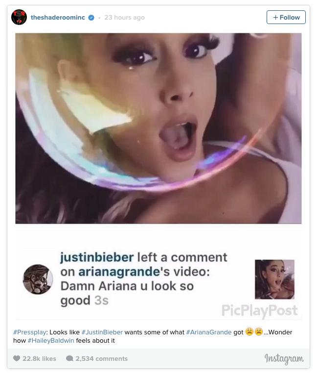 Justin Bieber Ariana Grande Flirt on Instagram