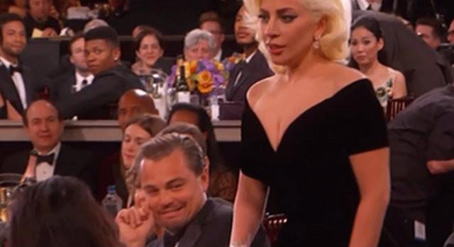 Lady Gaga Golden Globes 2016 Leonardo DiCaprio