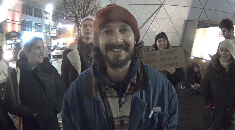 "Shia LaBeouf Arrested on Livestream: in Alleged Attack at His ""He Will Not Divide Us"" Trump Protest in NYC"