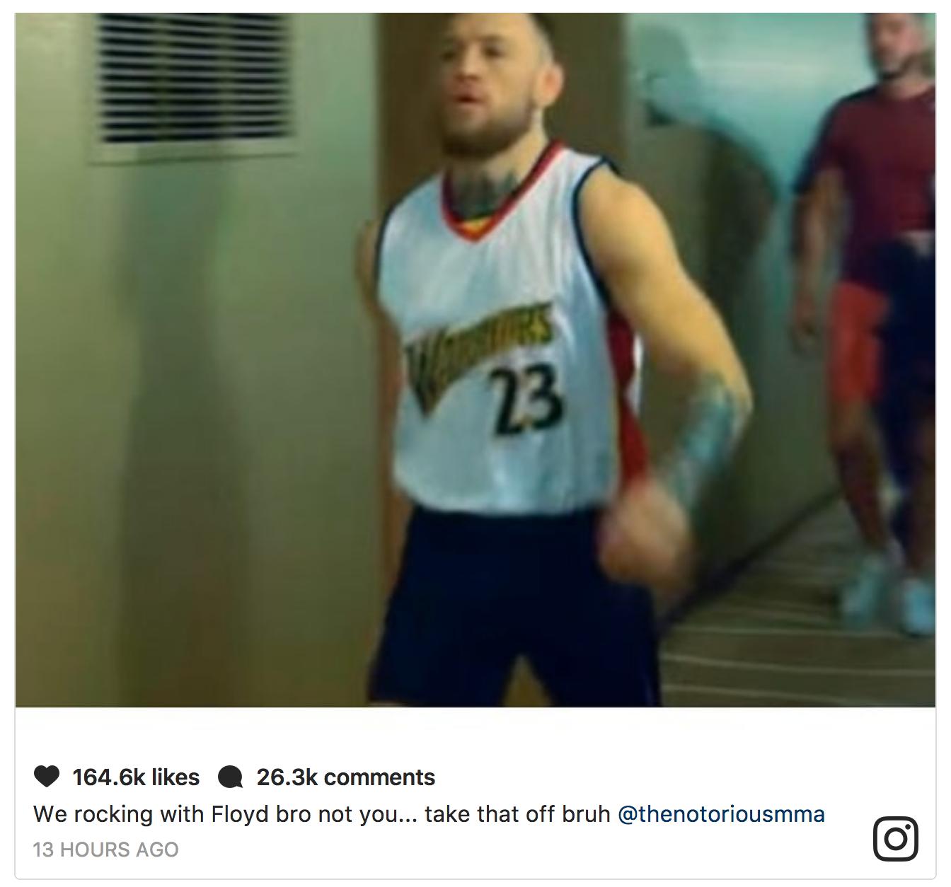 Conor McGregor wears C.J. Watson's jersey to Spite Floyd Mayweather, Draymond Green responds on Instagram